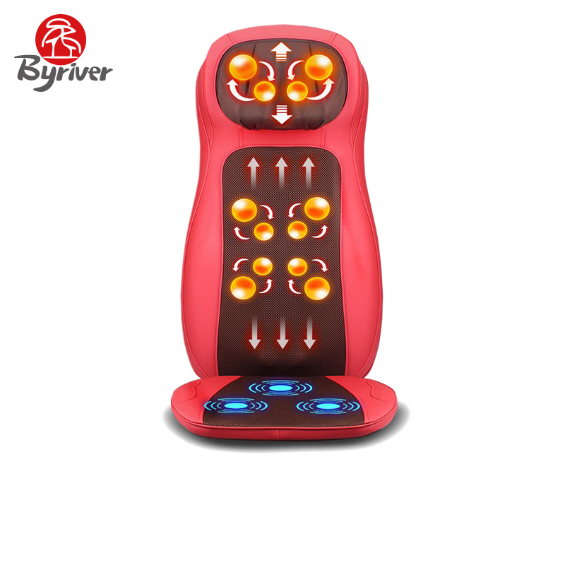 BYRIVER Back Massager Roller Shiatsu Car Home Massage Seat Cushion Chair Vibration And Kneading Function Massager  hot sale update anti stress electric roller vibration shiatsu neck back body massage cushion chair device m040