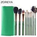 ZOREYA Marca 12 unids Moda Soft Pinceles de Maquillaje de pelo de Cabra Profesional Cepillos Cosméticos Como Herramienta de La Belleza