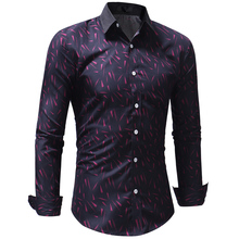 Men Print Shirt Business Long Sleeve Casual Plus Size Shirts Top Autumn Male Slim Fit for Clothing Cotton Soft