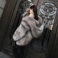 Casual furry faux fur fox coats women Fake fur coat female coat 2018 winter clothing colored fur warm overcoat