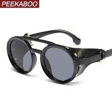 Peekaboo side shield sunglasses men round vintage black stea