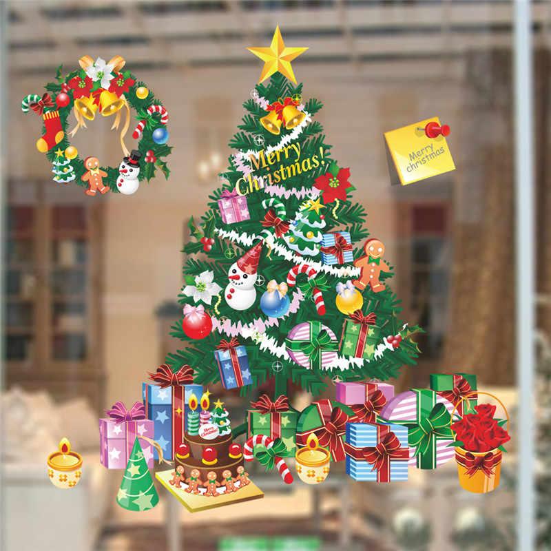 شجرة هدايا الكريسماس ملصقات جدار غرفة المعيشة غرفة نوم مخزن نافذة صور مطبوعة للحوائط عيد الميلاد السنة الجديدة هدية ديكور المنزل جدارية ملصق