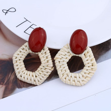 Minimalist bamboo rattan earrings oval-shaped large resin geometric for women party jewelry  A161