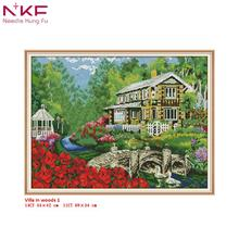 NKF cross stitch kit Villa in woods1 clear pattern needlework DMC 11/14 CT DIY easy handmade embroidery Kit for home decor&gift все цены