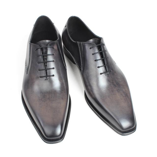 Gray Patina Handmade Oxford Shoes 1