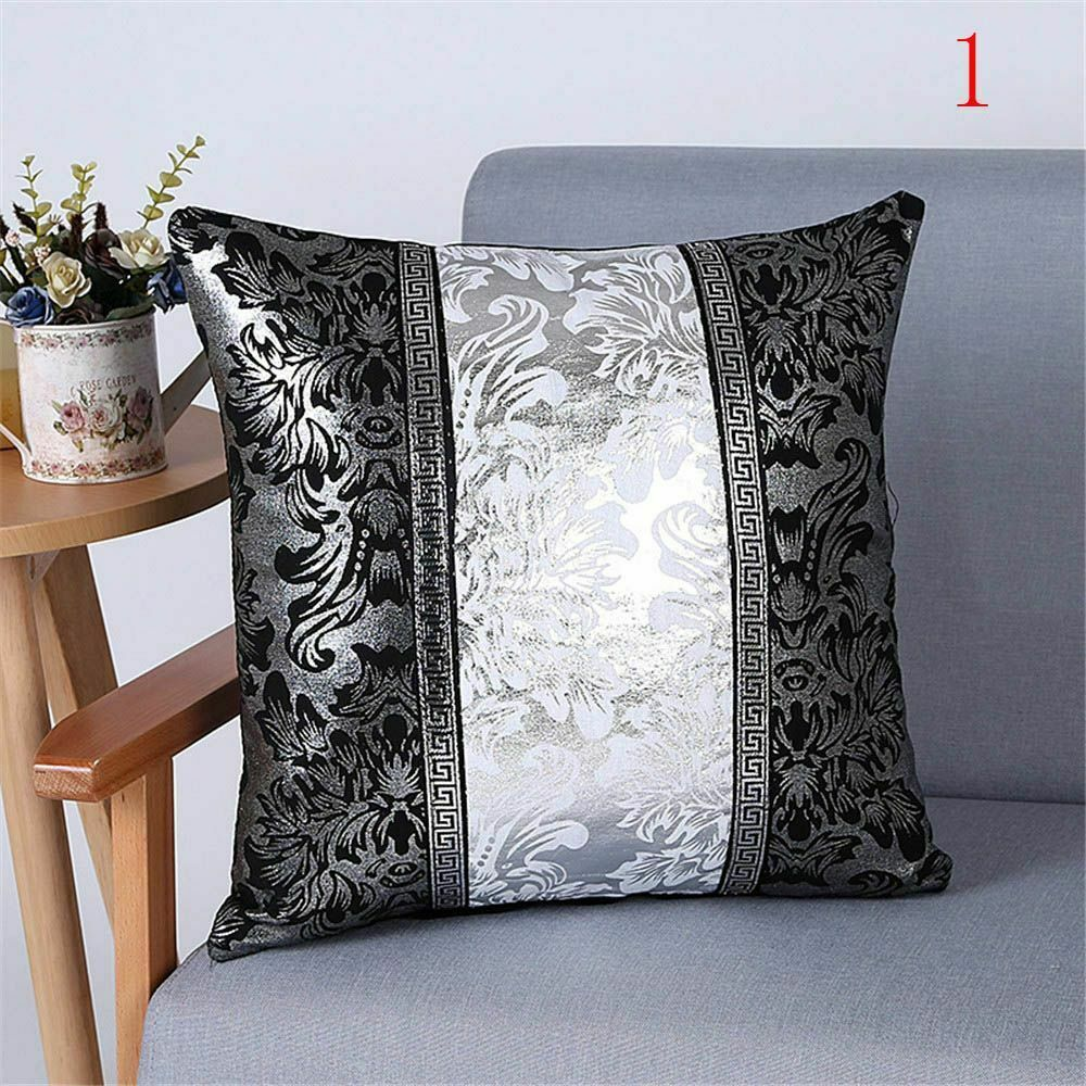 New Luxury Vintage Black And Silver Decorative Cushion Cover Floral Pillow Case For Car Sofa Decor Pillowcase Home Pillow Covers