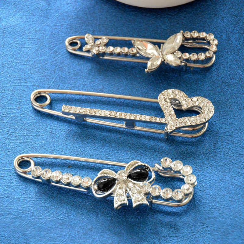 Hart MZC Baru Kristal Ikatan Simpul Bros Pins untuk Wanita Syal Pin jilbab Bunga Brosh Alat Kerah Pin Aksesoris Perhiasan Partai hadiah
