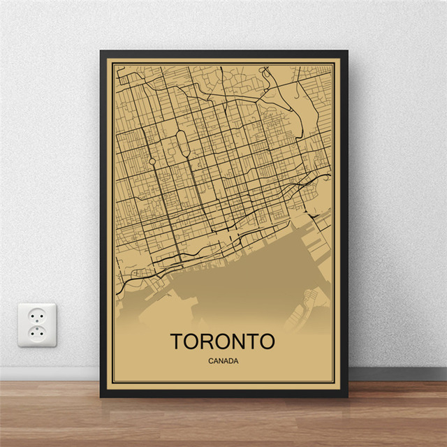 Canada city toronto vintage poster krafts paper world map retro canada city toronto vintage poster krafts paper world map retro painting art wall picture living room gumiabroncs Choice Image