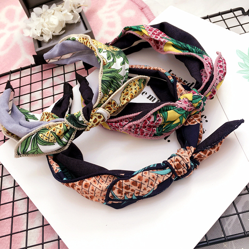 Girl's Accessories Korea Fabric Bunny Hair Bands Rabbit Ears Hairband Flower Crown Headbands For Girls Hair Bows Hair Accessories D