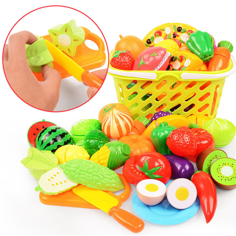 24Pcs/Set Plastic Fruit Vegetables Cutting Toy Pretend Play Games Kitchen Basket Set Play Food Educational Toys For Children Kid image