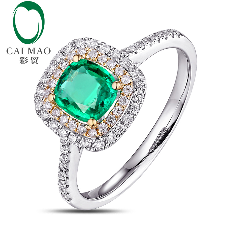 Caimao Antique 14k Multi-Tone Gold 0.70ct 5.5x5.5mm Cushion Cut Emerald Diamond Engagement Wedding Ring