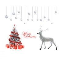 [Fundecor] diy ديكور المنزل الأيائل شجرة عيد الميلاد عطلة الديكور الأسرة اقتباس الحائط الفن شارات الجدار ملصق النافذة ميزون