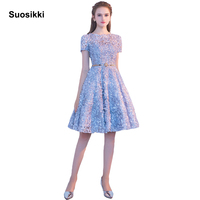 Suosikki New Design Evening Dress Knee Length Scroop The Banquet Short Sleeve Light Blue Prom Party