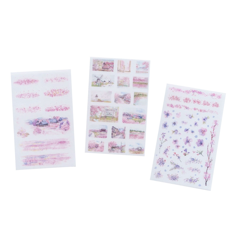 6pcs/set cherry blossom season decorations stickers DIY Manual stickers School office teaching stationery scrapbooking gift