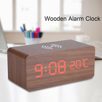 Wooden Alarm Clock With Qi Wireless Charging Pad Compatible With Phone Wood Voice Control Temperature Wireless Led Digital Clock