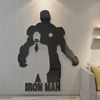 Robert Downey Jr Iron Man Wall Decoration Mirror Surface Wall Stickers For Living Room Bedroom Coffee