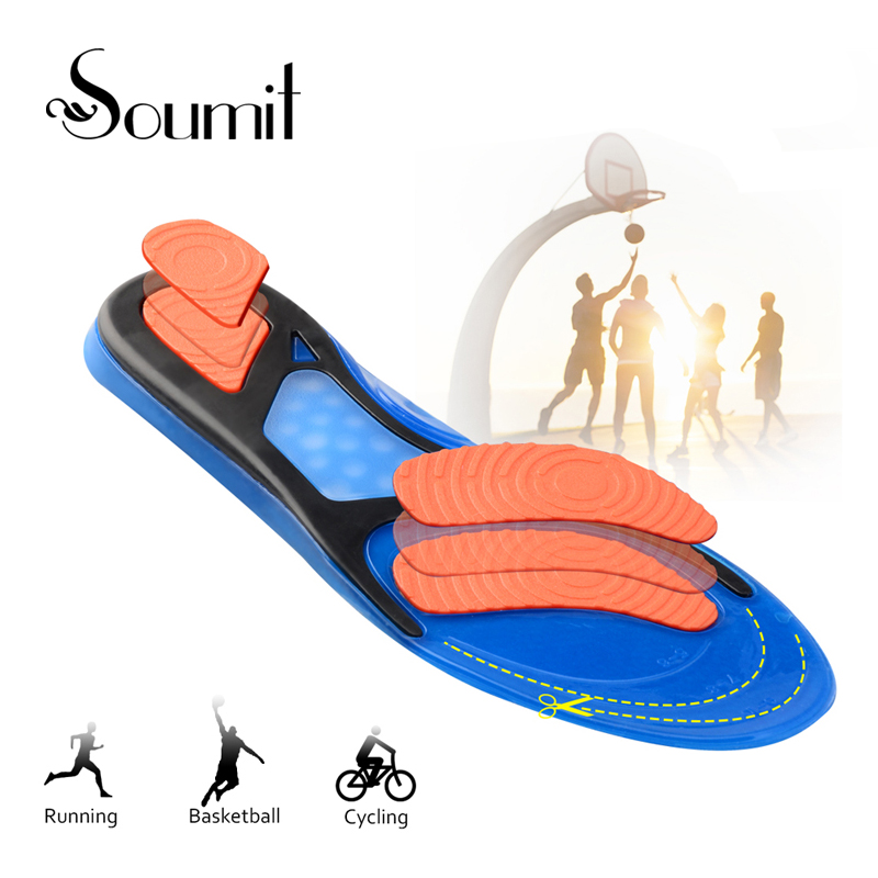 Soumi Unisex Suede Breathable Sport Insoles for Men Women Running Basketball Insert Cushion Massage Foot Care Shoes Pads Insoles arch supports insoles for shoes sport breathable eva insoles breathable foot pads massage sport shoe insole xd 085