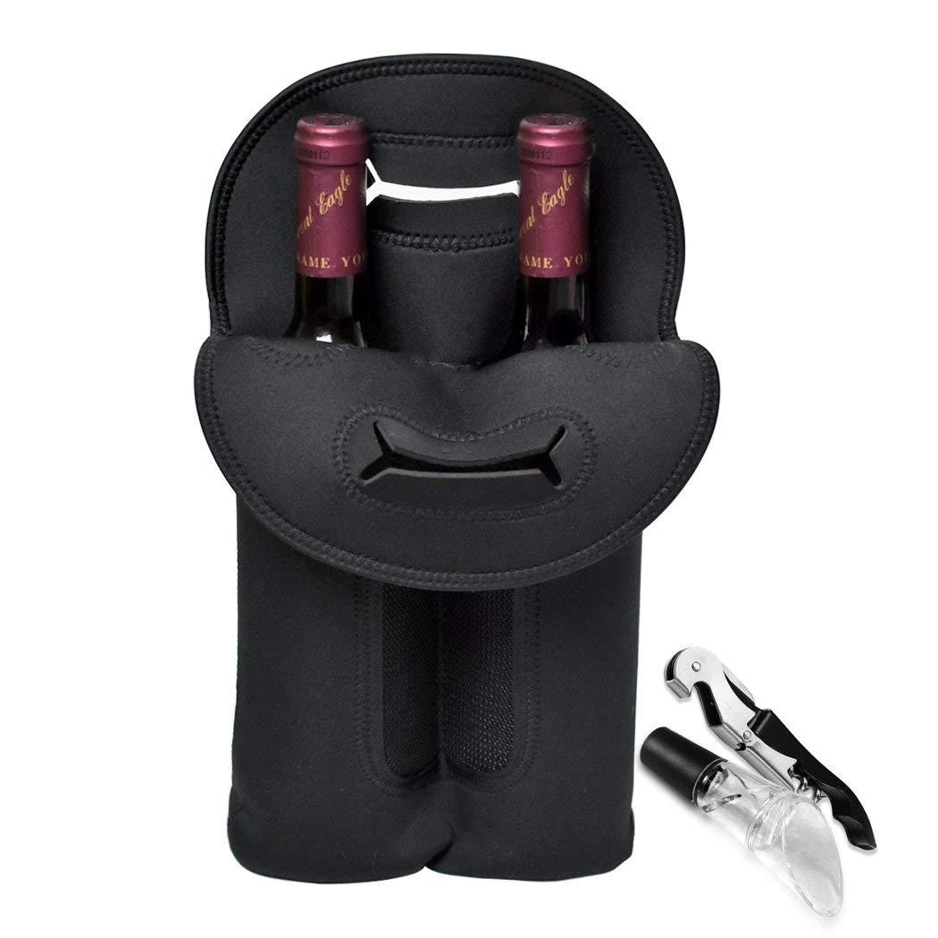 Two Bottle Wine Carrier Tote Bag, Insulated Wine Bottle Holder Keeps Bottles Protected Bag For Travel