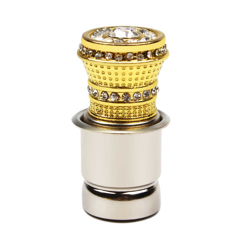 LEEPEE HOT Luxury Aluminum Car Cigarette Lighter With Small Crystal Rhinestones Golden Auto Accessories
