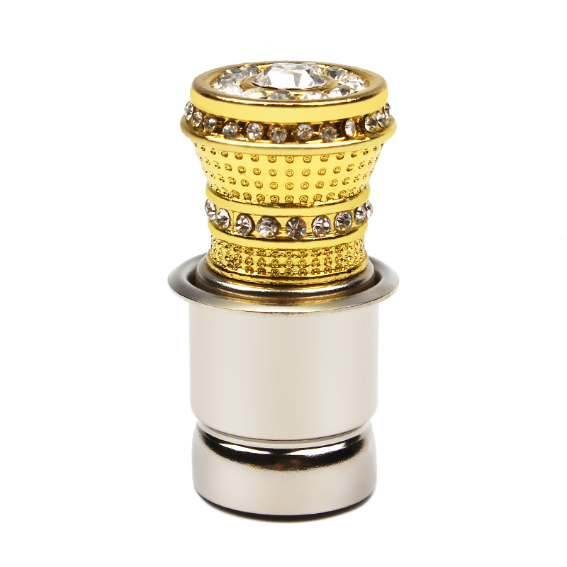 LEEPEE HOT Luxury Aluminum <font><b>Car</b></font> Cigarette <font><b>Lighter</b></font> With Small Crystal Rhinestones Golden Auto Accessories image