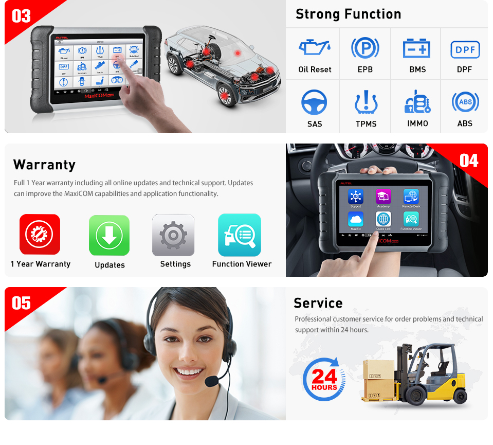 Image 3 - Autel MaxiCOM MK808 OBD2 Scanner Diagnostic Scan Tool All System Diagnosis Service Functions Code Reader MD802+MaxiCheck Pro