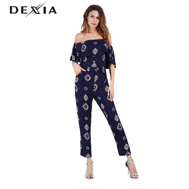 DEXIA Jumpsuits Ladies Overalls Casual Black Printed Spring Autumn Full Long Women High Waist Ruffles Pants Clothes Women 5449