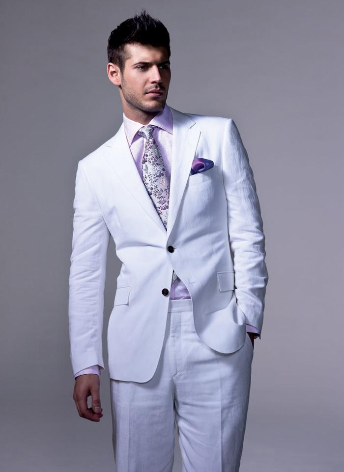 Online Buy Wholesale white linen suit for men from China white ...