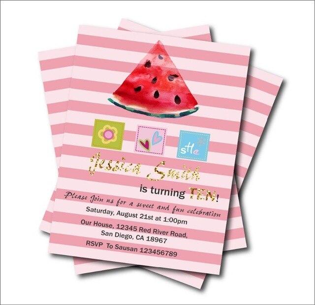 20pcslot Custom Sweet Watermelon Birthday Invitations Girls Baby