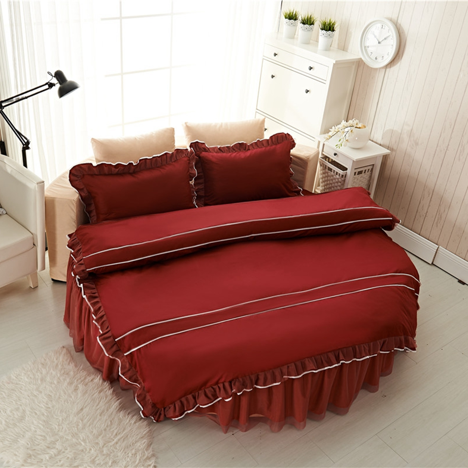 Red Wine Solid Color Duvet Cover Set 100% Cotton Round Bed Bedding Set For  Home Part 71