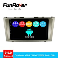 FUNROVER android 9.0 2.5D+IPS car dvd multimedia For Toyota Camry 7 xv 40 50 2006 2011 radio gps navigation system navi stereo