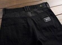 European American Style hommes jeans de marque de luxe Hommes denim pantalon rayures Slim Straight zipper trou noir jeans pantalon pour hommes