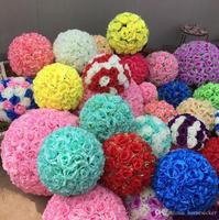 Rose balls 6~24 Inch(15~60CM) Wedding silk Pomander Kissing Ball decorate flower artificial flower for wedding garden market dec