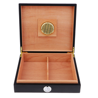 Portable Spanish Cedar Cigar Humidor W/ Humidifier Hygrometer Cigar Box with Moisture Meter Moisturizing Device Case Black