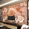 Beibehang High Grade Three Dimensional Jade Carving Stone TV Background Custom Large Scale Fresco Non Woven
