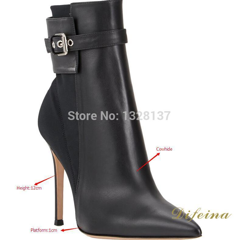 Women Ankle Fashion Boots Thin High Heels Pointed Toe Women Boots Genuine Leather Slip-On Solid Buckle Autumn Boots