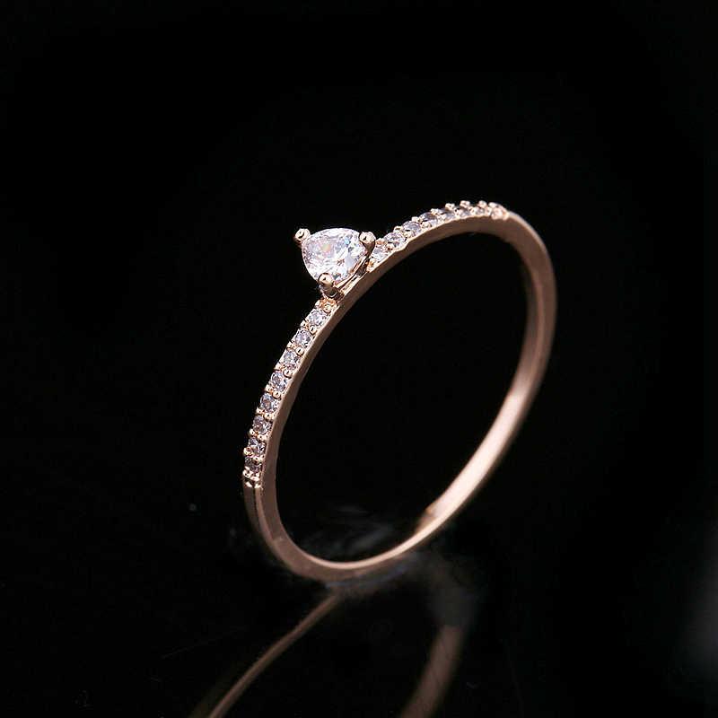 MIGGA exquise couleur or Rose placage mince Style cubique zircone anneau de coeur pour les femmes fête cadeau fiançailles