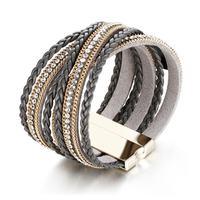 Trendy Delicate Multilayer Bracelets Bangles Alloy PU Rhinestones Wide Magnetic Closer Bracelet Women Gift Jewelry Accessories