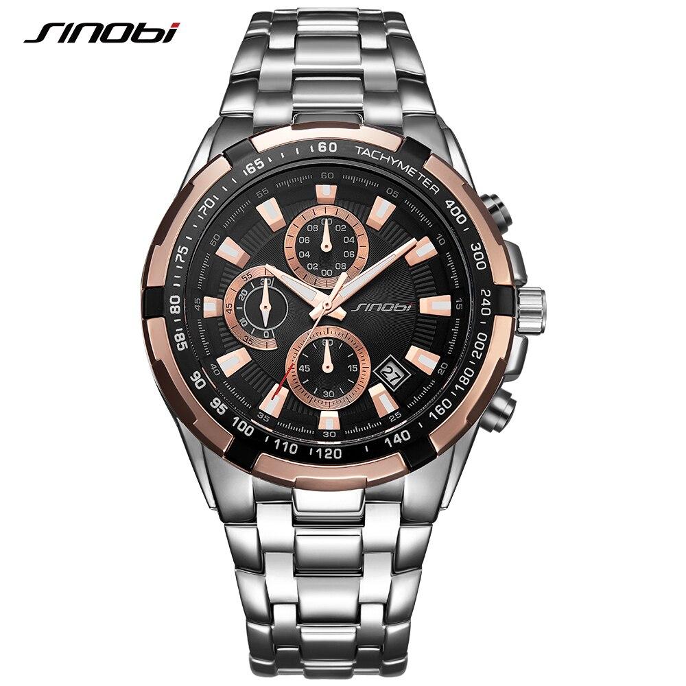 0d56b0ecf113 SINOBI Cronógrafo Para Hombre Relojes de Primeras Marcas de Lujo Del  Relogio masculino Negocio de La Moda de Cuarzo Reloj Deportivo Hombre Reloj  Impermeable ...