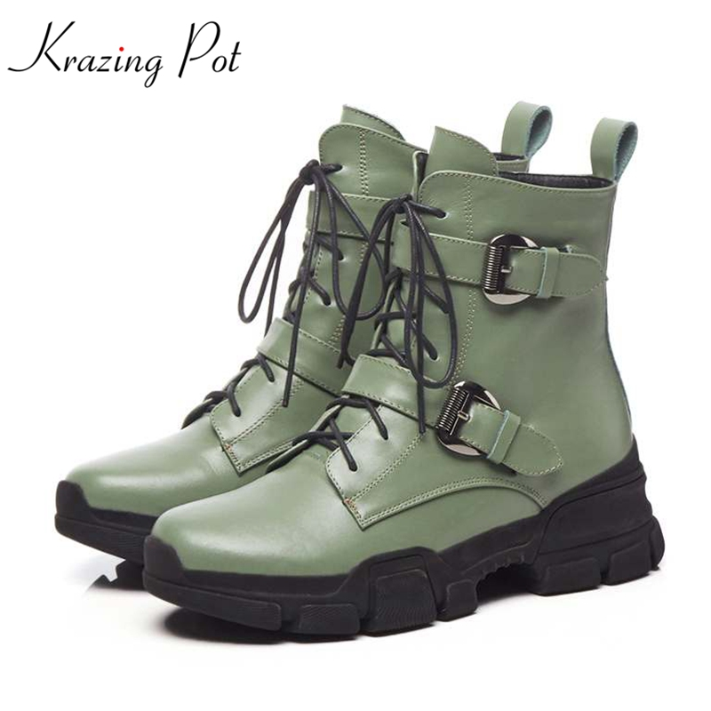 цена на Krazing Pot new genuine leather gorgeous streetwear Princess style med heels round toe thick bottom metal buckle ankle boots L84