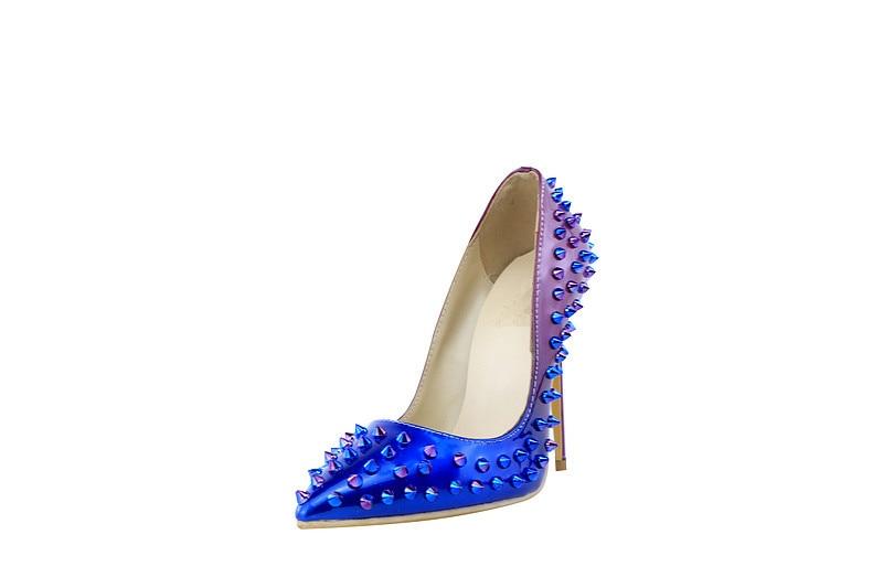 Designer Soirée 120mm Brevet De Luxe Chaussures Robe Bleu 2018 Marque Haute Dégrader Pompes Qualité Pointes Talons Femmes waqzq5B