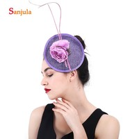 Flower Beaded Purple Linen Hats for Bride Wedding Hair Accessories Charming Ladies Party Hats with Hair Pins noiva H79