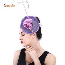 Fiore In Rilievo Viola Cappelli di Lino per la Sposa Accessori Per Capelli  Da Sposa Delle 5463367871c1
