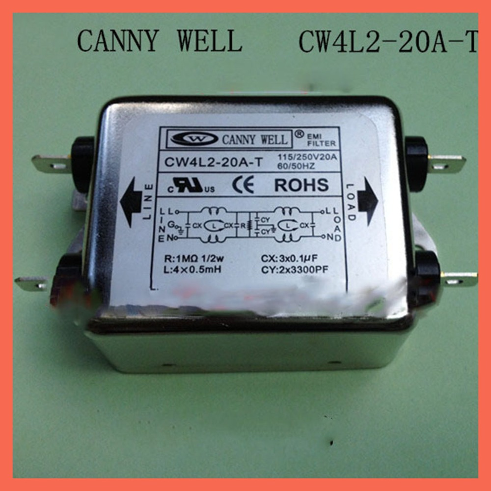 110-250V ,20A Canny well dual power supply emi filter power purifier cw4l2-20a-t EMI Filter Electronic Components Adapters cw15e 06a t emi power supply filter 110 250v 6a ac electrical equipment adapters power supplies