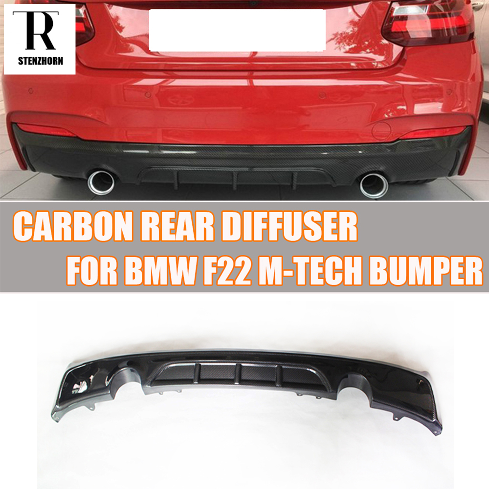 F22 TMS Style Carbon Fiber Rear Bumper Diffuser Lip Spoiler for BMW F22 M235i M-tech M-sport Bumper 2014 - 2016 2 series carbon fiber car bumper front lip diffuser for bmw f22 m sport coupe only 14 17 convertible 220i 230i 235i 228i p style
