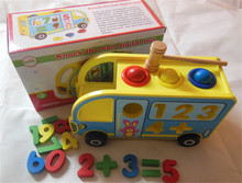 New wooden toy Knock the ball degital bus blocks baby educational Free shipping