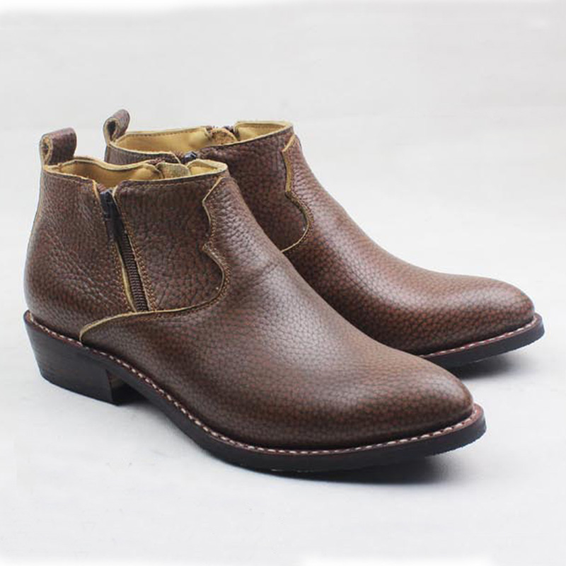 Western Cowboy Boots Ankle Zip Brown Embossing Cowhide Genuine Leather Work Boots  Men Pointed Sewing Outdoor Boots Botas Hombre| | - AliExpress