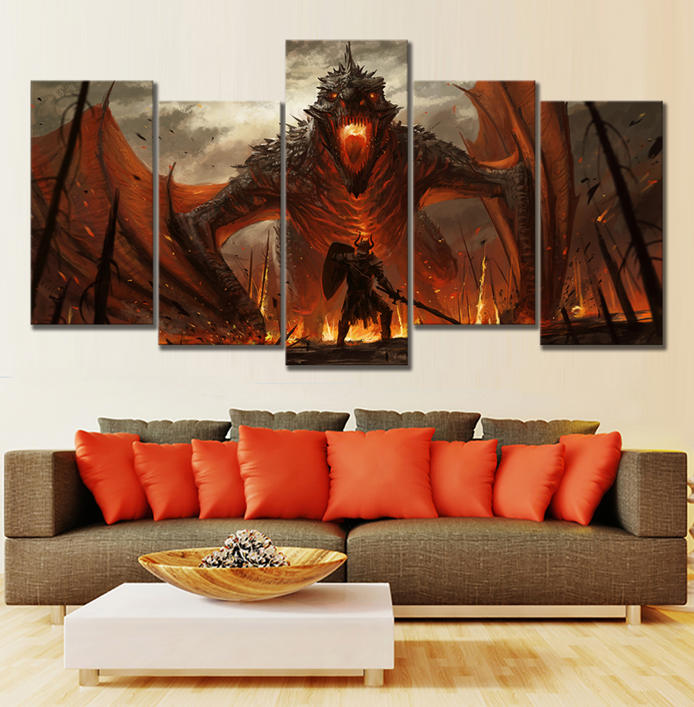 5 piece hd game of thrones dragon oil painting on canvas fantasy wall art for home decor with. Black Bedroom Furniture Sets. Home Design Ideas