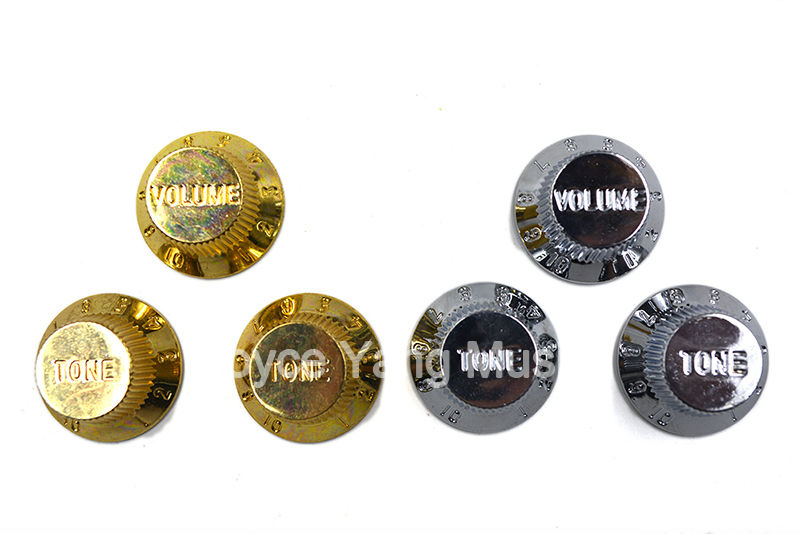 Gold/Silver Painted 1 Volume & 2 Tone/Lot Electric Guitar Control Knobs For Fender Strat Style Electric Guitar Free Shipping