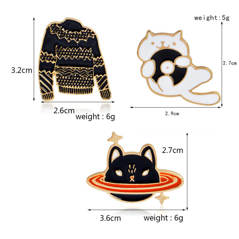 Мультфильм запись Кот планета кошка черная брошь для свитера булавка котенок заколки с животными пуговица куртка рюкзак для рубашки булавка нагрудные значки ювелирные изделия