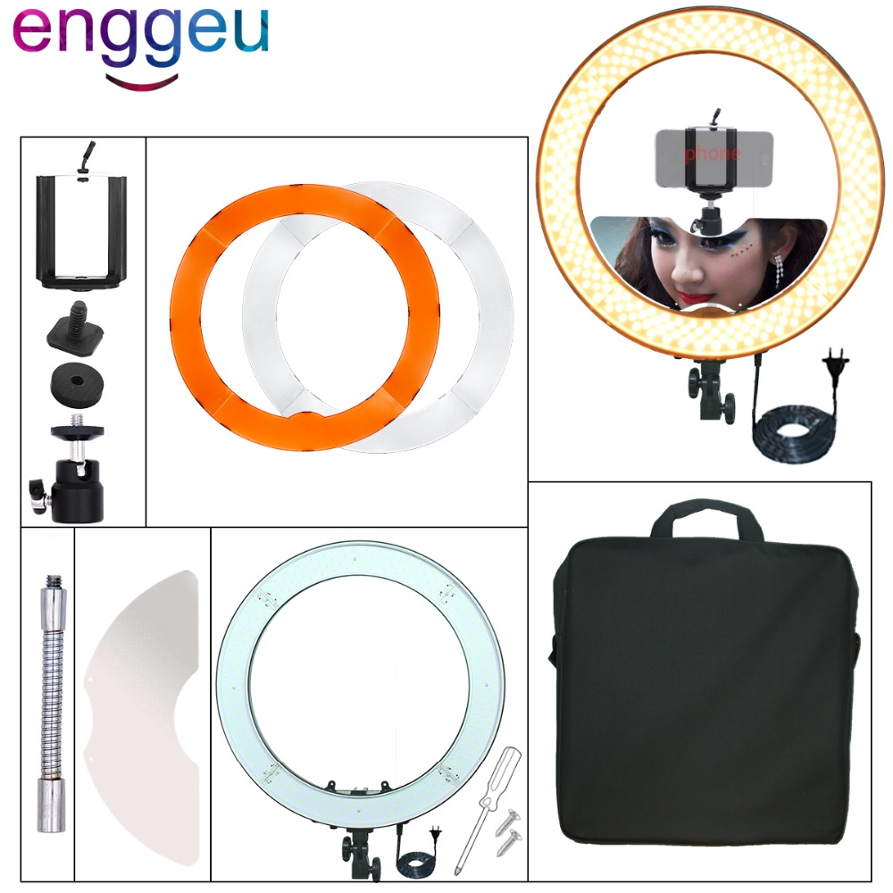 240PCS Ring Light LED 55W 5500K Camera photo Studio Phone Video 18 Photography Dimmable Ring Lamp selfie video make up light studio 19 48cm 55w 5500k dimmable led ring light lamp with color filter for video photo makeup beauty selfie lighting ru